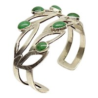 Mexico Sterling Silver Aventurine Cuff Bracelet