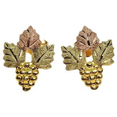Landstrom's 10K Tri Color Black Hills Gold Leaves & Grape Cluster Stud Earrings
