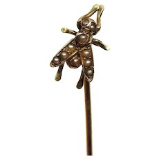 Antique 10K Gold Seed Pearl Fly Insect Stick Lapel Pin