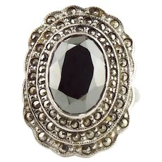 Vintage Sterling Silver Marcasite & Hematite Ring Size 9 1/2