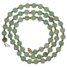 Kwan Collections 14K Yellow Gold Clasp & Spacers Jade Beaded Necklace