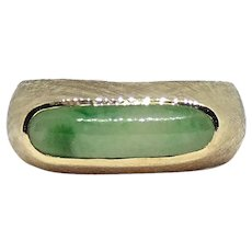 14K Yellow Gold Jade Jadeite Cabochon Men's Unisex Ring Size 10
