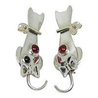 Mexico Sterling Silver & Brass Black Onyx & Agate Cat Dangle Earrings