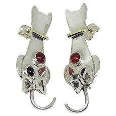 Mexico Sterling Silver & Brass Black Onyx & Agate Cat Dangle Earrings