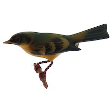 Vintage Takahashi Hand Painted Wood Female Scarlet Tanager Bird Pin