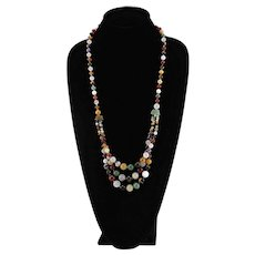 Beautiful Multi Color Semiprecious Gemstone Beaded Necklace