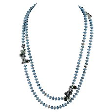 "Opera Length Sterling Silver Faceted Blue Chalcedony, Labradorite, Rutilated Quartz & Blue Quartz Beaded Necklace 52"" Long"