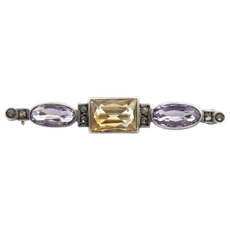 Art Deco Germany 835 Silver Amethyst Citrine Marcasite Pin Brooch