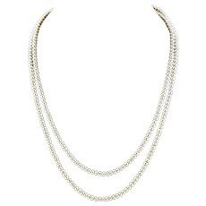 "Opera Length 48"" 5-6mm White Cultured Button Pearl Necklace"