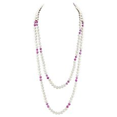 "Opera Length 64"" 8-9mm Pink - Purple & White Cultured Pearl Necklace"