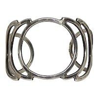 Modernist Hammered Sterling Silver Circle & Moon Crescent Cuff Bracelet