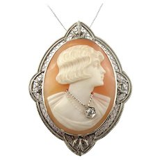 14K White Gold Cameo & Diamond Accent Pin Pendant Necklace