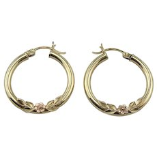 14K Yellow Gold & Rose Gold Rose Applique Hoop Earrings