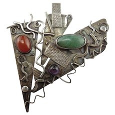 Artist Made by Maggie DeBaecke Sterling Silver Multi Stone Pin