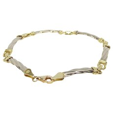 14k White & Yellow Gold Link Bracelet