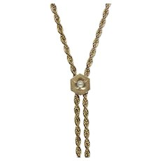 10K Gold Seed Pearl Slide on a Gold Filled Watch Chain Lorgnette Necklace