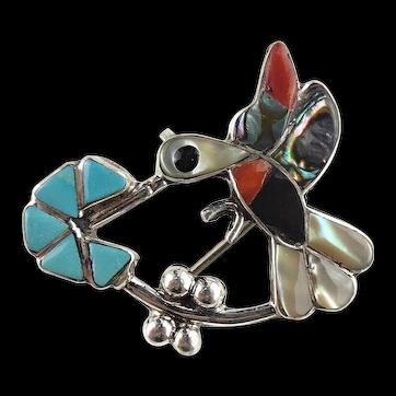 Zuni Artist Deanne Edaakie Native American Sterling Silver Hummingbird Pin & Pendant