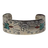 Very Beautiful Ornate Native American Sterling Silver Floral Peyote Bird Chip Inlaid Cuff Bracelet