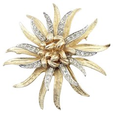 Large Vintage Signed CORO Two Tone Rhinestone Flower Pin Brooch