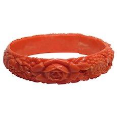 Vintage Carved Coral Celluloid Floral Bangle Bracelet