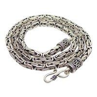 "Heavy Duty Sterling Silver Byzantine Chain Necklace 22"" Long 5mm"