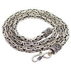"Heavy Duty Sterling Silver Byzantine Chain Necklace 22"" Long 5mm"