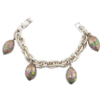 Vintage Murano Art Glass Wedding Cake Bead Charm Bracelet