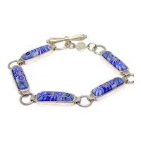 """Vintage Alan K Sterling Silver Millefiori Toggle Bracelet 7 1/2"""""""