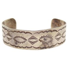 Hand Stamped Fred Harvey Native American Navajo COIN Silver Cuff Bracelet