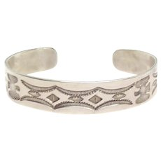 Fred Harvey Era Native American Sterling Silver Stamp Work Cuff Bracelet