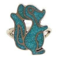 Native American Turquoise Chip Inlay Bambi Movie Flower the Skunk Ring
