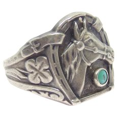 Native American Sterling Silver Lucky Horseshoe Horse Ring