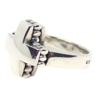 Lagos Caviar Sterling Silver Cross Ring Size 7