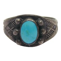 Fred Harvey Era Native American Sterling Silver Whirling Log Turquoise Ring Size 6