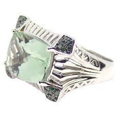 Victoria Wieck Sterling Silver Green Diamonds & Prasiolite Ring Size 6