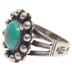 Fred Harvey Era Native American Sterling Silver Turquoise Ring Size 5.5
