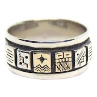Native American Roderick Tenorio & Carolyn Pollack Relios Sterling Silver & 14K Band Ring Size 7