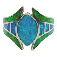 David Freeland Jr DFJR Sterling Silver Lab Created Fire Opal Ring Size 7 1/2