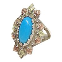 Sterling Silver & 12K Black Hills Gold Turquoise Ring Size 6 1/2