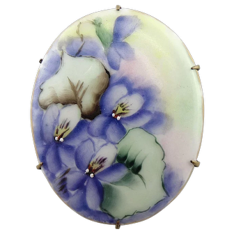 Victorian Painted Porcelain Violets Flowers Brass Pin Brooch