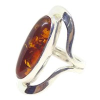 Mexican Designer Dominique Dinouart DDD Sterling Silver Amber Ring Size 10