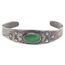 Fred Harvey Era Native American Sterling Silver Turquoise Cuff Bracelet