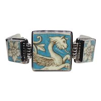 Custom Made Sterling Silver Griffin Ceramic Panel Bracelet