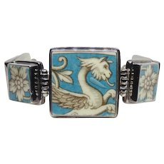 Custom Made Sterling Silver Griffin Ceramic Panel Bracelet