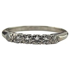 Vintage 14K White Gold 0.30 CTW Diamond Wedding Band Ring Size 5
