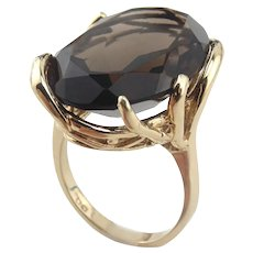 Huge 20+ Carat Smoky Quartz 10K Yellow Gold Ring Size 8