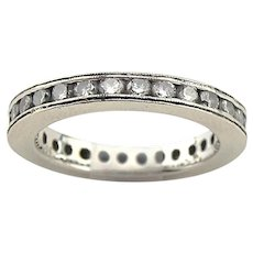 18K White Gold 1.36 CTW Diamond Eternity Wedding Band Ring
