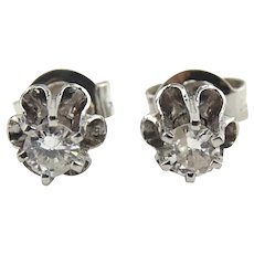 14K White Gold 0.22 CTW Diamond Stud Earrings