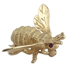 14K Yellow Gold Ruby Eyed Bumble Bee Insect Pin
