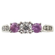 14K White Gold 0.40 CTW Diamond & Pink Sapphire Band Ring Size 6 3/4